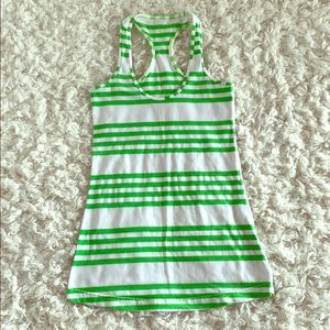 Lululemon Green White Stripe Racer Back Tank Top